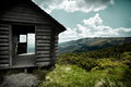 Mountain view wooden hut over mountains in karkonosze mountains giant mountains Stock Image