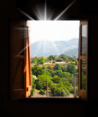 Mountain views from the window open of light room Royalty Free Stock Image