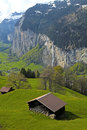 Mountain village in the alps switzerland beautiful traditional vertical image Royalty Free Stock Photography