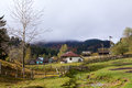 In mountain village fundata autumn panorama brasov county romania Stock Images