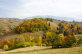 In mountain village fundata autumn panorama brasov county romania Royalty Free Stock Photos