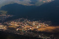 Mountain village seen from above Stock Images