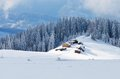Mountain village of shepherds winter landscape with carpathians ukraine europe Royalty Free Stock Photo