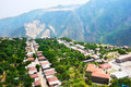 Mountain village view from altitude Stock Photo