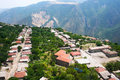 Mountain village view from altitude Stock Photos
