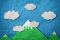 Mountain with white cloud and blue sky, leather paper cut style Royalty Free Stock Photo