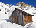 Mountain wooden cabin log in the dolomites passo fedaia italy Royalty Free Stock Photography