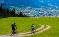 Mountainbike downhill in Maienfeld Switzerland Royalty Free Stock Photo