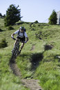 Mountainbike extrem dowhnill Royalty Free Stock Photo