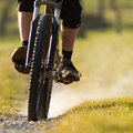 Mountainbiker on a singletrail Royalty Free Stock Photos