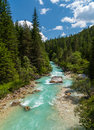 Mountainbiking in cortina d ampezzo italy the summer a river from the mountains the woods the italian alps Royalty Free Stock Photo