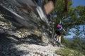 Mountainbiking mountain bike blurred downhill mountainbike on garda lake Stock Photography