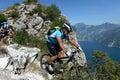 Mountainbiking mountain bike mountainbike downhill on garda lake Royalty Free Stock Photo