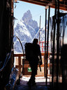 Mountaineer in a alpine hut background aiguille noire mont blanc italy Royalty Free Stock Images