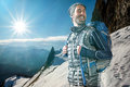 Mountaineer in a beautiful landscape Stock Photography