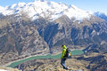 Mountaineer going down Royalty Free Stock Photo