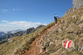 Mountaineer on a hiking trail in the austrian alps europe Stock Images