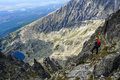 Mountaineer man with helmet enjoying the rocky landscape in the mountains high tatra mountains carpathians slovakia Royalty Free Stock Photos