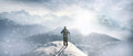Mountaineer view with on winter landscape Stock Image