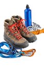Mountaineering equipment hiking shoes and on white background Stock Photo