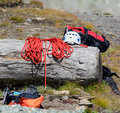 Mountaineering professional equipment for climbers and mountaineers Stock Photos