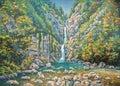 Mountainous summer landscape with a three-stage waterfall Nameless. Sochi National Park. Author: Nikolay Sivenkov.