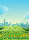Mountains across the tall buildings illustration of Royalty Free Stock Image