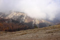 Mountains in cloud at fall view on crimean Royalty Free Stock Images