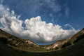 Mountains and clouds panoramic photography is not high with beautiful fisheye Stock Images