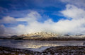 Mountains and cold lake snowy landscape of highlands scotland Royalty Free Stock Images