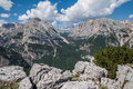 Mountains dolomites via ferrata ettore bovero on the peak of the mountain called col rosa Stock Photo