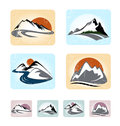 Mountains emblem set emblems editable vector Royalty Free Stock Photography