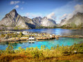 Mountains and Fjord Landscape, Norway Royalty Free Stock Photo