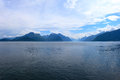 Mountains and fjord in the late afternoon Royalty Free Stock Photos