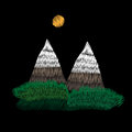 Mountains and green bushes embroidery stitches imitation