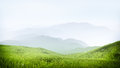 Mountains high quality render of a beautiful mountain meadow with hazy mountins in the background Royalty Free Stock Photos