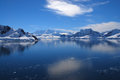 Mountains and hills covered in snow ice paradise harbor antarctica Royalty Free Stock Image