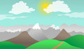 Mountains hills nature landscape cartoon vector illustration of and Stock Images