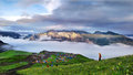 Mountains hilltop view photoed in peak of jiuding mountain in aba tibetan autonomous prefecture china the sea of cloud under blue Stock Images