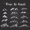 Mountains illustration silhouettes set for making your own logo badge label design Royalty Free Stock Photos