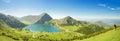 Mountains and Lake Enol in Picos de Europa, Asturias, Spain. Royalty Free Stock Photo