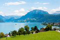 Mountains and lakes alps a landscape view of the swiss fields Stock Photos
