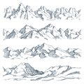 Mountains landscape engraving. Vintage hand drawn sketch of hiking or climbing on mountain. Nature highlands vector