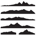 Mountains landscape silhouette set. High peak mountain border Royalty Free Stock Photo