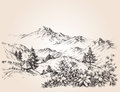 Mountains landscape sketch Royalty Free Stock Photo