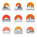 Mountains logo set, vector icon illustration Royalty Free Stock Photo