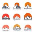 Mountains logo set, vector icon illustration Royalty Free Stock Photo