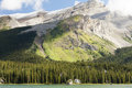 Mountains maligne lake  banff  national park west canada british columbia Royalty Free Stock Photo
