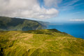 Mountains of molokai aerial view island and coastline Stock Image