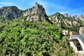 Mountains montserrat in spain in the northwest from barcelona the freakish and mysterious place a massif which consists from more Stock Photo